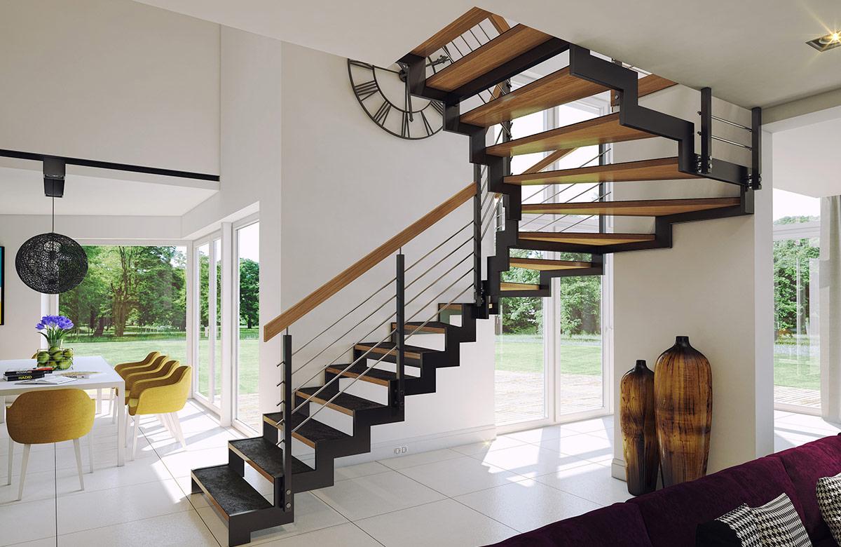 Schody na konstrukcji metalowej - Schody drewniane - Olsztyn